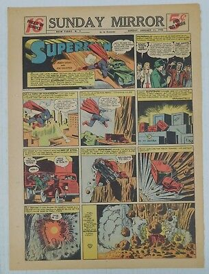 SUPERMAN SUNDAY COMIC STRIP #115 - 1942 Siegel & Shuster Newspaper Clipping