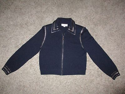 Women St John Collection Marie Gray Zip Knit Jacket Size 8 Navy Blue Gold Trim