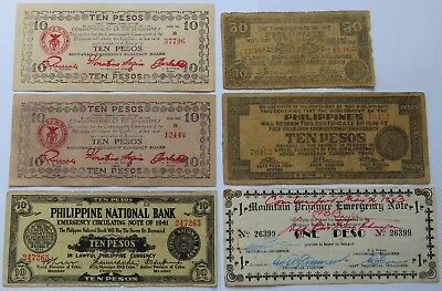 6 Philippines Vintage Notes 1941/42/43 One +10 Pesos Emergency Currency (161559)