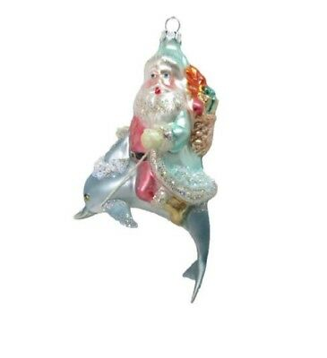 December Diamonds Santa Claus Riding on Dolphin Christmas Tree Ornament Sea Life
