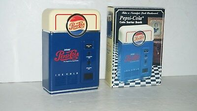 COLLECTIBE PEPSI COLA ADVERTISING REPLICA VENDING MACHINE COIN SORTER BANK w BOX