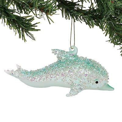 Department 56 Coast Glitter Dolphin Glass Christmas Tree Ornament 6002483 New