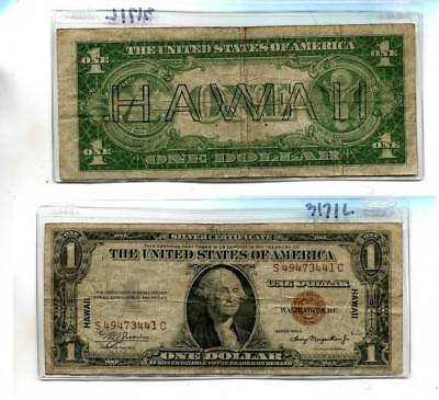 1935 A $1 Hawaii Brown  Seal Currency Note Vg G  3171L