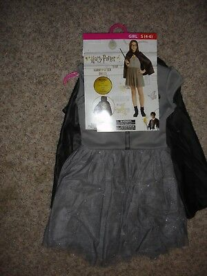 NEW Harry Potter dress Halloween Costume youth girls size (S) 4/6 cape & glasses