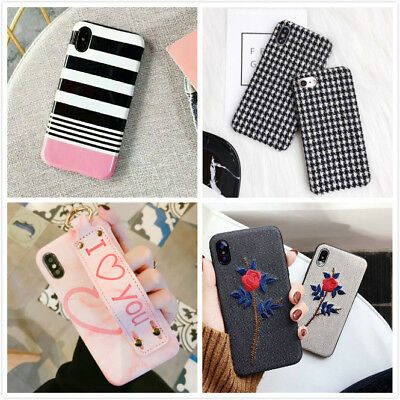 Cute Pink Love Strap 3D Rose Protective Phone Case Cover For iPhone