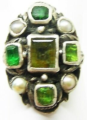 Fabulous 17th - 18th century Baroque Jewelled Silver Finger Ring Size 7 3/4