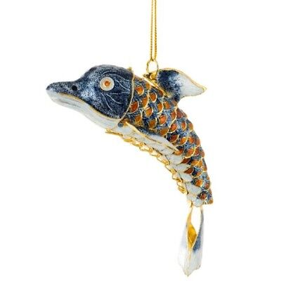 Orange and Blue Dolphin Articulated Cloisonne Metal Christmas Tree Ornament New
