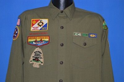 vtg 60s BOY SCOUTS OF AMERICA GREEN WOOL UNIFORM SHIRT PHILMONT OA PATCH SHIRT M