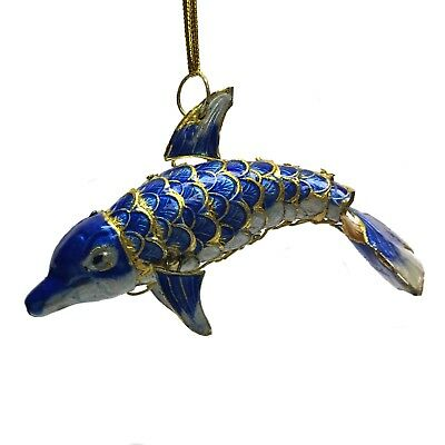 Blue and White Dolphin Articulated Cloisonne Metal Christmas Ornament Sea Life