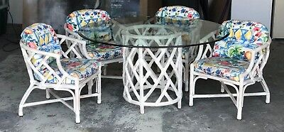 Vintage Wicker by Henry Link Chinoiserrie Four Chairs Glass Dining Table Set