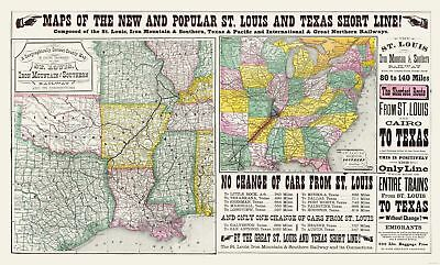 Old State Map - St Louis - Iron Mountain - Wooward 1882 - 38.23 x 23