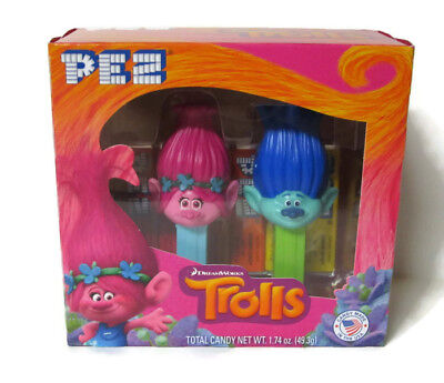 Pez DreamWorks Trolls Candy Dispenser Poppy & Branch Exp 09/2021 NEW