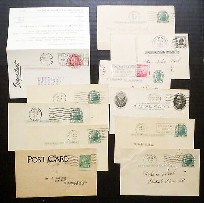 Small Vintage Lot of Used US Postal Card Entires