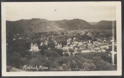 RP Postcard RUSHFORD MN  Early 1900's Local Area Town Aerial view 1930's