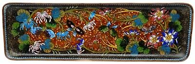 """VINTAGE Chinese Cloisonne Enamel Butterfly 9 5/8"""" Dresser Tray EXQUISITE"""
