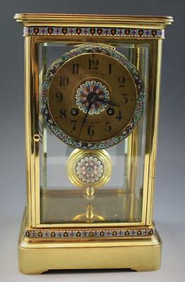 C1890s French Crystal Regulator Mantle Clock w/ Champleve Cloisonne Japy Freres
