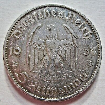 Germany 1934-A 90% Silver Five Reichsmark Coin (Km#83)
