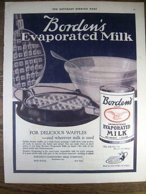 1919 BORDEN'S EVAPORATED MILK AD with Waffle Maker + DEL MONTE CANNED FRUIT