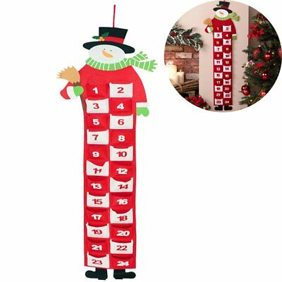 Christmas Large Felt Snowman Advent Calendar with Pockets Xmas Home Door Decor