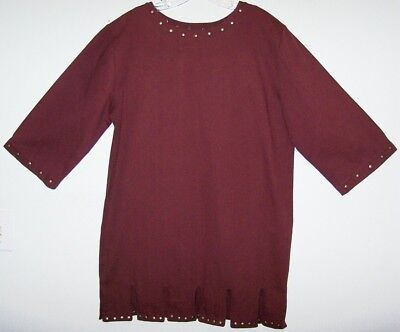 RENAISSANCE BURGUNDY TUNIC Mens M Scoop-Neck 3/4-Sleeves Paneled-Hem Metal-Studs