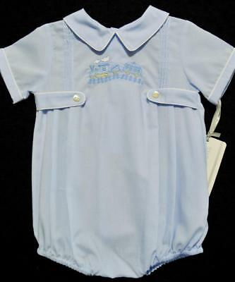Friedknit Creations 6M Boys Embroidered Blue Train Romper~Nwt's