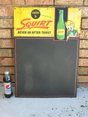 X 1956 Vintage SQUIRT SODA MENU BOARD TIN SIGN - Squirt Boy & Bottle Graphic