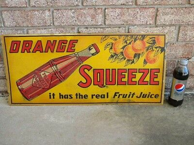X Vintage RARE 1920s ORANGE SQUEEZE Embossed TIN SIGN - ORANGES - SODA BOTTLE