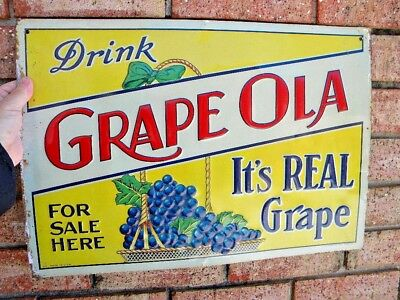 X Vintage GRAPE OLA Embossed Tin Sign - GRAPES BUNCH Graphic ROBERTSTON SIGN CO.