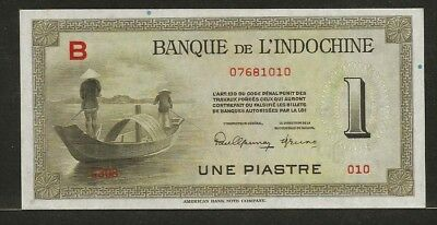 FRENCH INDO-CHINA 1 piastre ND (1945) P76a UNC men in boat / Ankor Wat