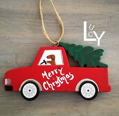 Dachshund  Merry Christmas Vintage Red Truck Ornament