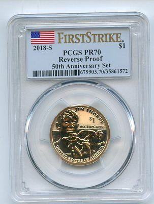 2018 S $1 Reverse Proof 50th Anniversary Sacagawea Dollar PCGS PR70 First Strike