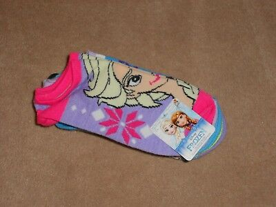 New, Girls Disney Frozen No Show Socks, Package Of 5 Pairs, Size 4 To 10