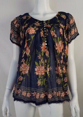 FREE PEOPLE Navy Blue Floral Print Babydoll Sheer Blouse Shirt Top - Size M