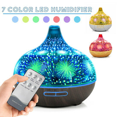 3D Glass Remote Aromatherapy Humidifier Essential Oil Diffuser Color Changing AU