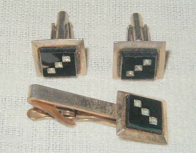 VINTAGE MEN'S CUFFLINKS AND TIE CLASP SET, BLACK ONYX FACES w CLEAR STONE INLAY