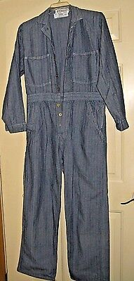 Universal Coveralls New Cotton Metal  Buttons Long  Sleeve Unused Denim  Sz 38