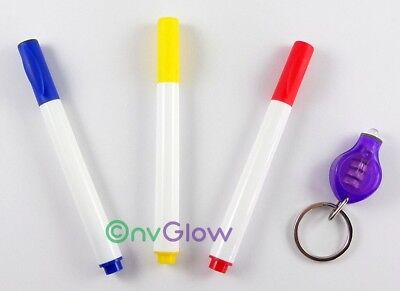 3 Invisible Ink Marker & UV Flashlight Black Light Reactive Red Blue Yellow Pen
