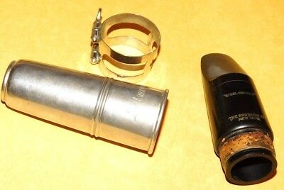 VINTAGE GOOD CONDITION THE WOODWIND Co NY STEEL EBONITE BASS CLARINET MOUTHPIECE