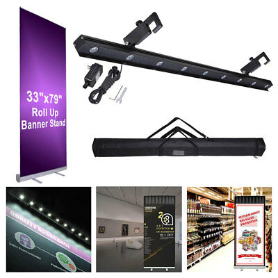 """Aluminum 33x79"""" Retractable Roll Up Banner Stand LED Light Kit w/ Bag Trade Show"""