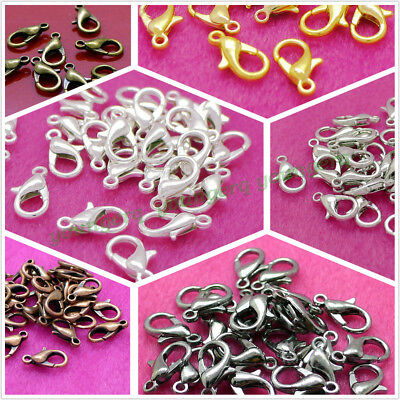 100Pcs Lobster Clasps Silver Gold Black Copper Plated 12*6mm Jewelry Findings