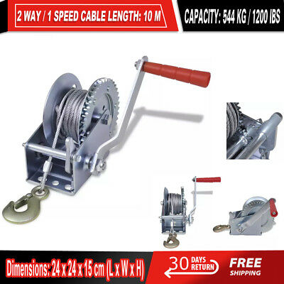 1200LBS/544KG Hand Winch Steel Cable/4WD Truck Boat Trailer Manual Winch/1-Speed