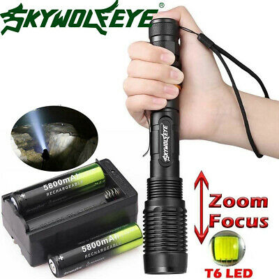 Zoomable 50000 Lumens High Power T6 LED Flashlight Torch 18650 Battery Charger *