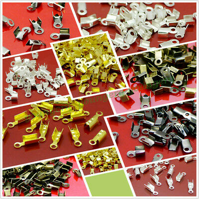 Wholesale Gold Silver Plated Fold Over Cord Crimp End Beads Tip Jewelry Findings