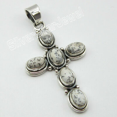 "925 Sterling Silver Authentic DENDRITIC AGATE Pendant 1 3/4"" ! Discount Jewelry"