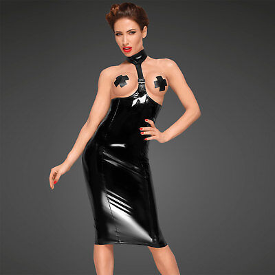 NOIR HANDMADE Lack Kleid Topless Bleistiftrock inkl. Pasties Vinyl Pencil Dress