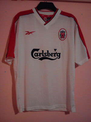 watch 224d3 fb020 LIVERPOOL FOOTBALL CLUB 1998 White Away Shirt Carlsberg Reebok Size Xl 46