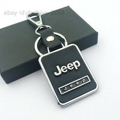 BLACK Leather Metal CAR Logo Key chain Keyring pendant key holder FIT FOR Jeep