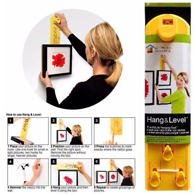 Picture Hanging Tool Hang & Level Perfectly Mirrors Clocks Photos Art Posters