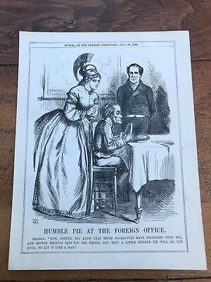 1863 cartoon print humble pie at the foreign office .  american civil war theme