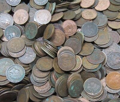 (50) Indian Head Penny Roll - Low Grade - 50 Coins - 1800's+1900's
